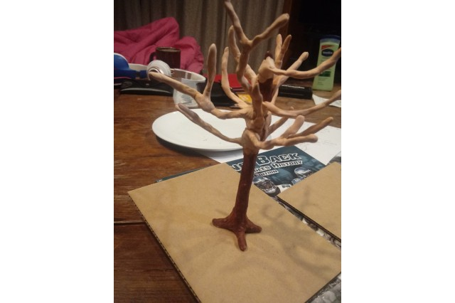 Clay model of tree base