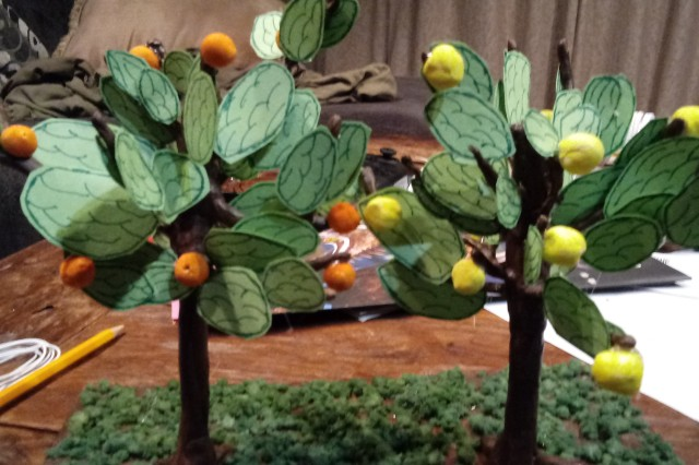Clay trees with lemons and oranges