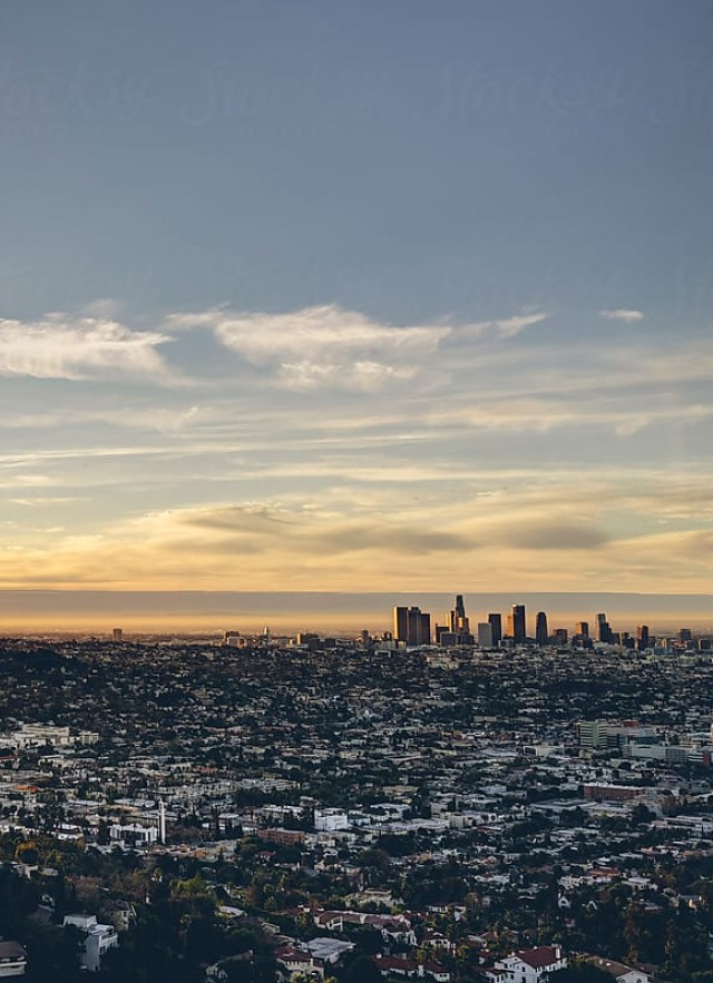 Sprawling view of Los Angeles at dusk