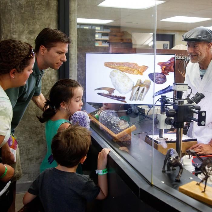 guests family kids la brea tar pits fossil lab