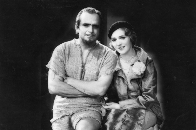 Mary Pickford visiting husband Douglas Fairbanks (in costume) on the set of his 1932 film, Mr. Robinson Crusoe