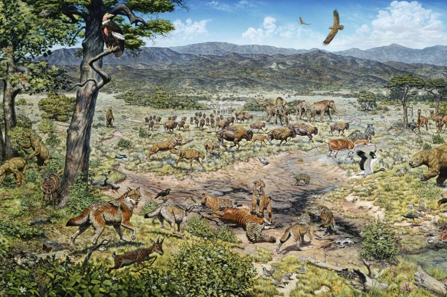 Painting of ice age Los Angeles featuring animals found as fossils at the Tar Pits