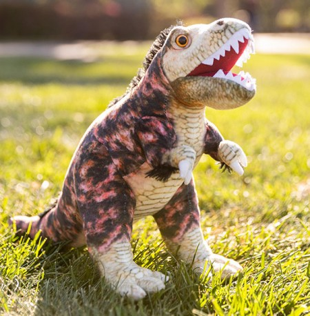 Hunter the T. Rex plushie outdoors